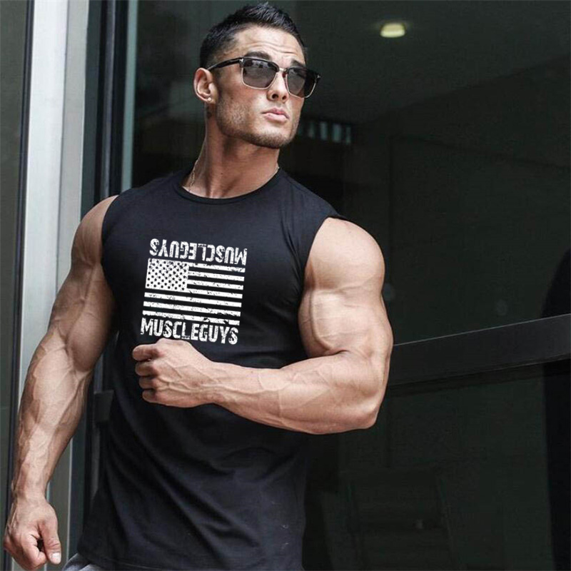 New Brand Mens Bodybuilding Cotton Tank Top Fitness Sleeveless Shirt Male Gyms Clothing Fashion Singlet Muscle Vest Undershirt