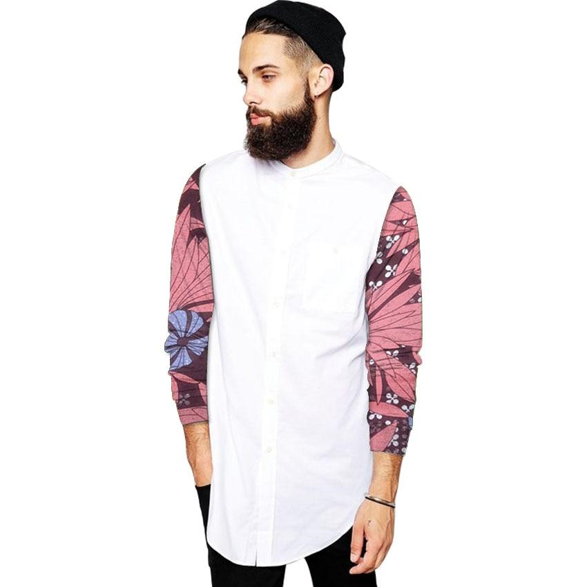 Particuliere aangepaste mannen mode tops Afrikaanse shirt staan kraag print wax patchwork dashiki outfits voor bruiloft / feest