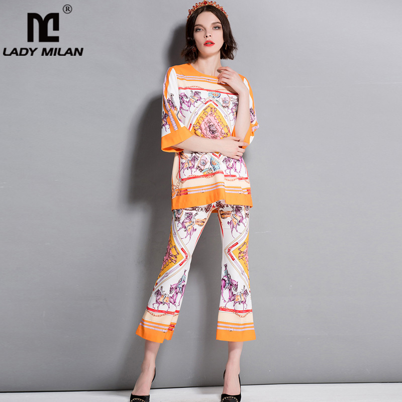 New Arrival Womens O Neck 3/4 Sleeves Printed Blouse with Pants Fashion Runway Twinsets Two Piece Pants Sets