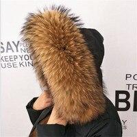ZDFURS *2017 Winter 100% Real Natural Fur Collar & Womens Scarfs Fashion Coat Sweater Scarves Collar Luxury Raccoon Fur Neck Cap