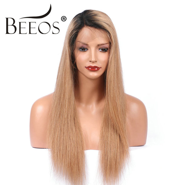 Online Shop Beeos Women 360 Lace Frontal Human Hair Wigs Ombre ... 8698bb3429