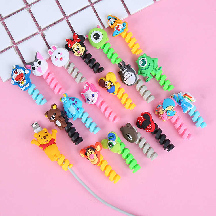 10Pcs Cartoon Spiral Cable Protector Data Line Cord Protector Protective Case Cable Winder Cover For iPhone USB Charger Cable