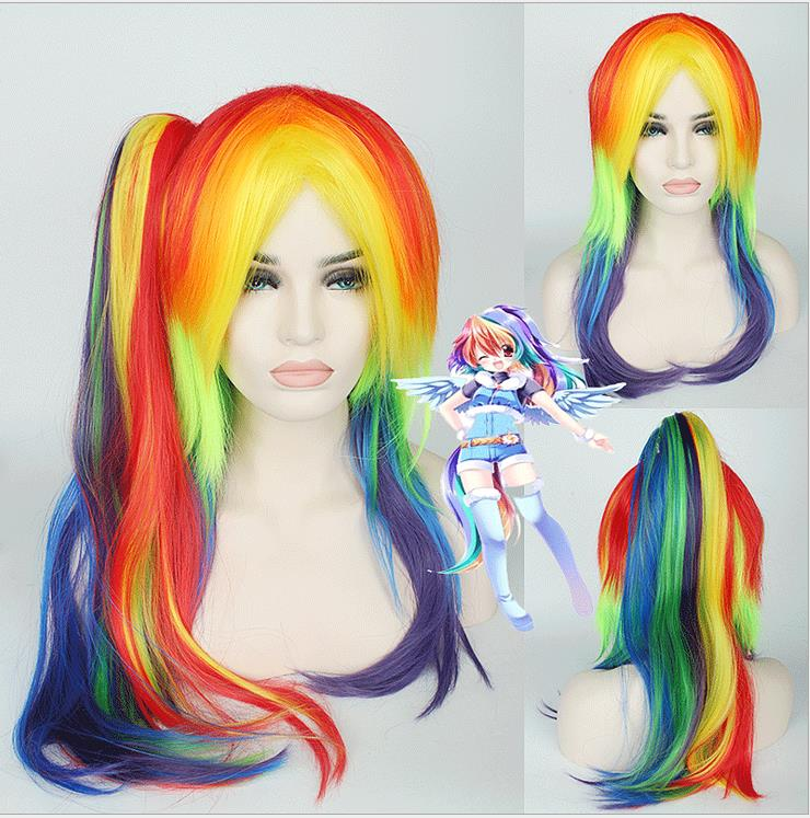 Pony Wig with a Tail for Halloween Cosplay Party Kids Adult Party Supplies  Pony Rainbow Wig Multi Color Party DIY Free Shipping-in Party Hats from  Home ... 288e9d9a4f17