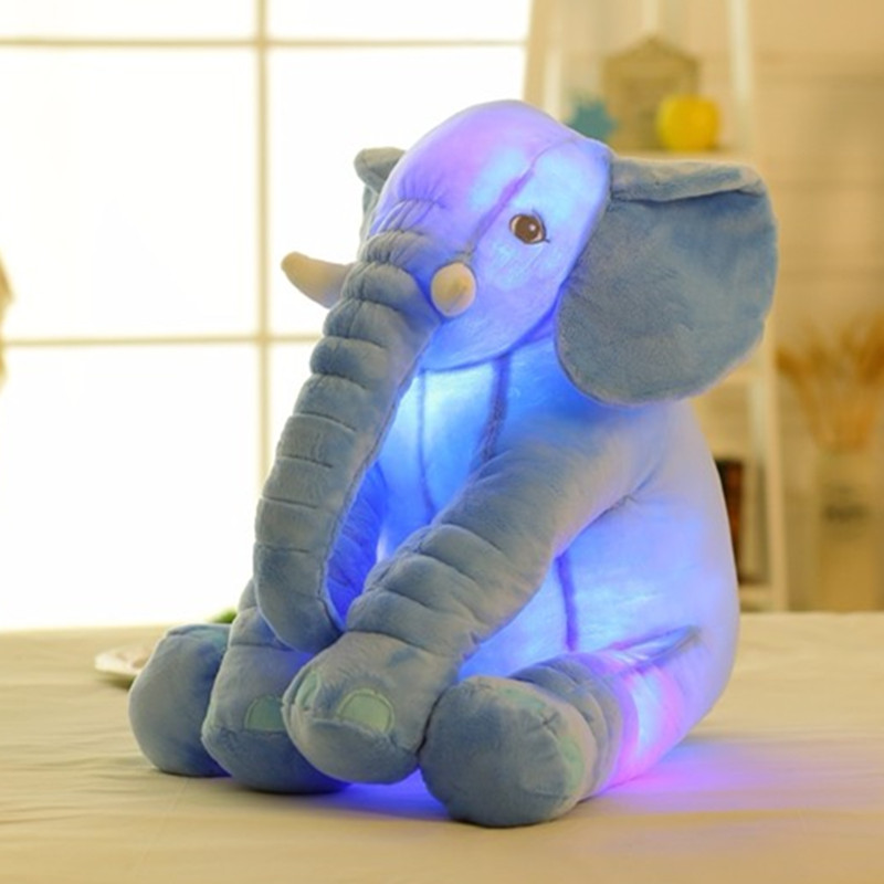 Colorful Glowing Soft Stuffed Plush Toy Elephant Pillow Flashing LED Light Luminous Elephant Doll Baby Birthday Gift for Kids lovely giant panda about 70cm plush toy t shirt dress panda doll soft throw pillow christmas birthday gift x023