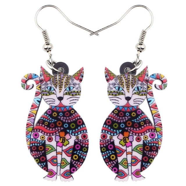 Acrylic Floral Cat Kitten Earrings