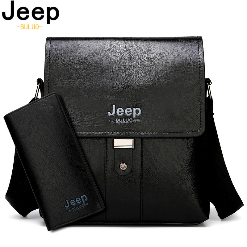 JEEP BULUO Men Shoulder Bag Set Big Brand Crossbody Business Messenger Bags Casual Pu Leather For Man Fashion New Hot Salling