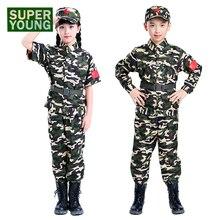 Комплекты охотничьей одежды для девочек и мальчиков; детская Военная Тактическая армейская форма; Детские камуфляжные куртки в стиле джунглей; Мужская полицейская одежда; костюмы