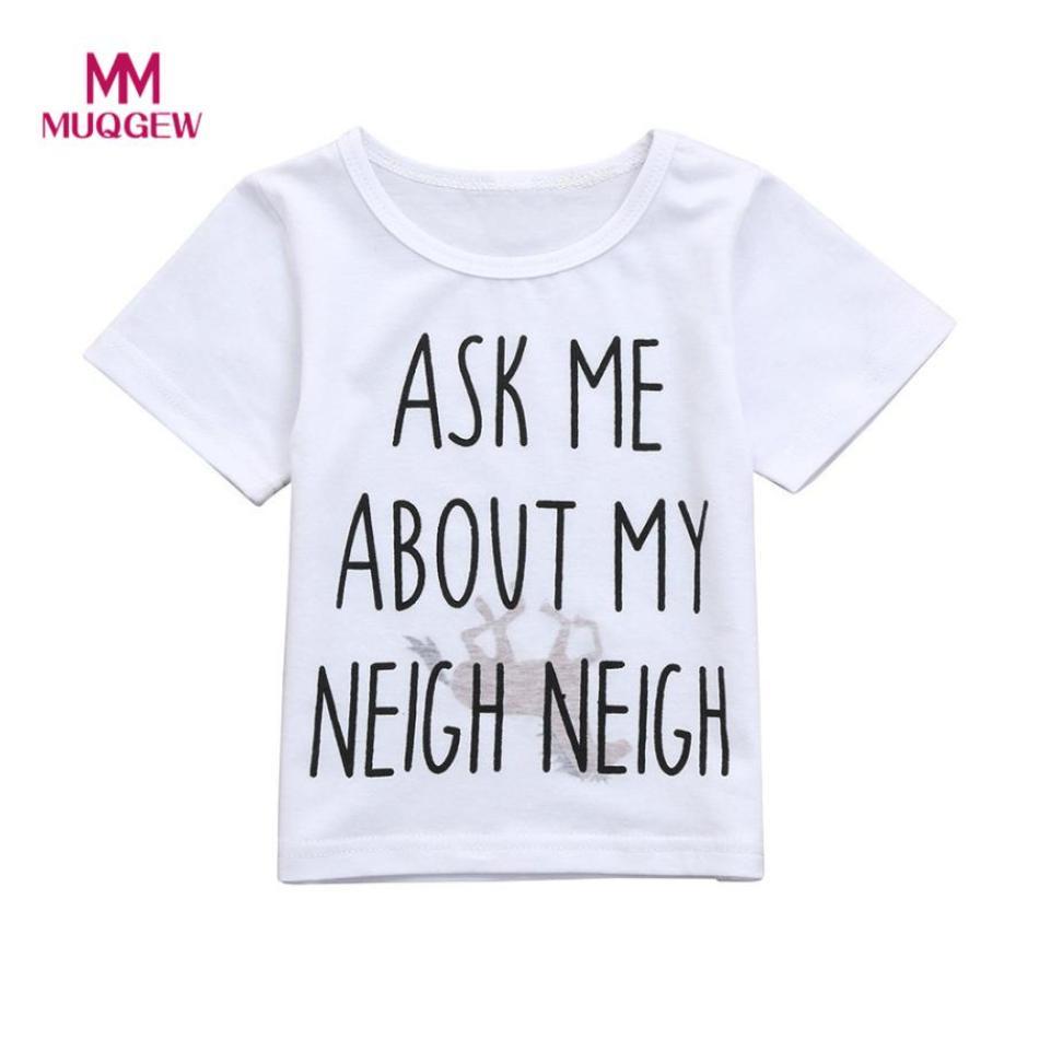 Kids T-Shirt Children Baby Girls Boys lovely Cute Horse Inside Letter Soft Tops Cute Short Sleeve O-Neck White T-Shirt Clothes