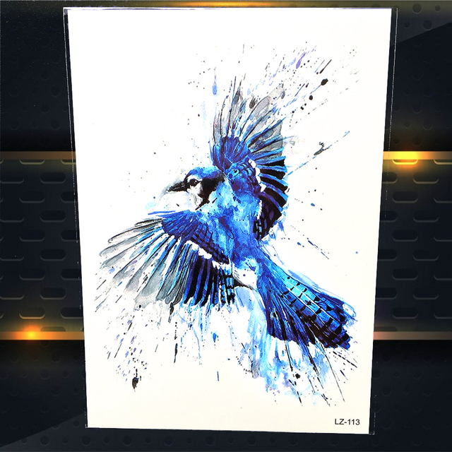25 Style Blue Jay Birds Temporary Tattoo Stickers Women Men Water Color Decal Watercolour Fake Flash Body Art
