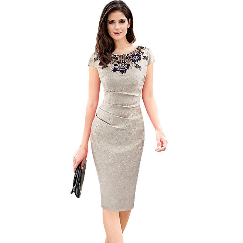 Vfemage Womens Short sleeves summer 2018 Elegant Embroidery See Through Lace Party Evening Special Occasion Sheath Vestidos Body in Dresses from Women 39 s Clothing