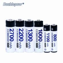 4 шт./лот DP-AA/AAA 1.2 В doublepow аккумуляторная батарея 800 мАч-2700 мАч в фактической высокое Ёмкость Батарея ячейки бесплатная доставка
