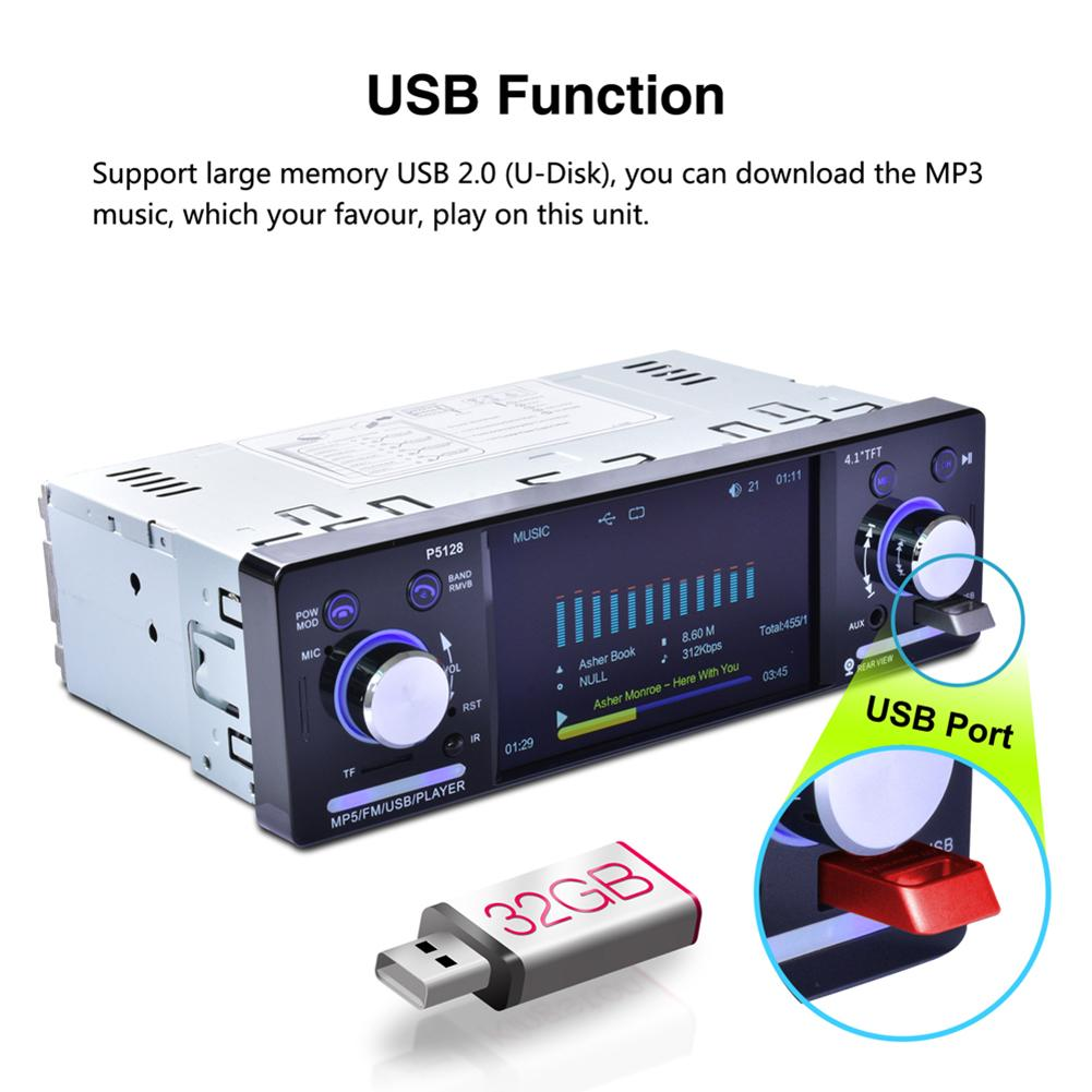 """Image 3 - 4.1"""" Autoradio TFT LCD 1080P Backlit Colorful ISO Port Priority Bluetooth MP5 Player P5128 support AM/FM/RDS Rear View Camera-in Car Multimedia Player from Automobiles & Motorcycles"""