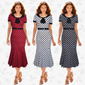European American style women high quality fashion print short sleeve peter pan collar pullovers mermaid dresses vestidos B632-1