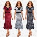 Europeu estilo americano mulheres de alta qualidade de impressão moda manga curta peter pan collar pullovers sereia vestidos vestidos b632-1