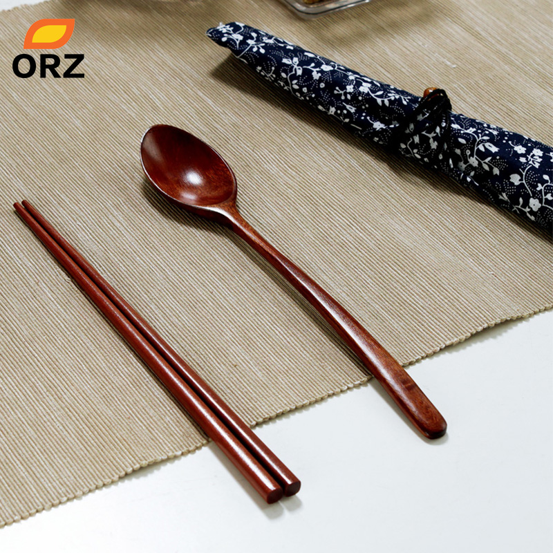 Japanese Style Tableware Natural Wood Chopsticks Spoon Set Cloth Pack / Portable Dinnerware Sets