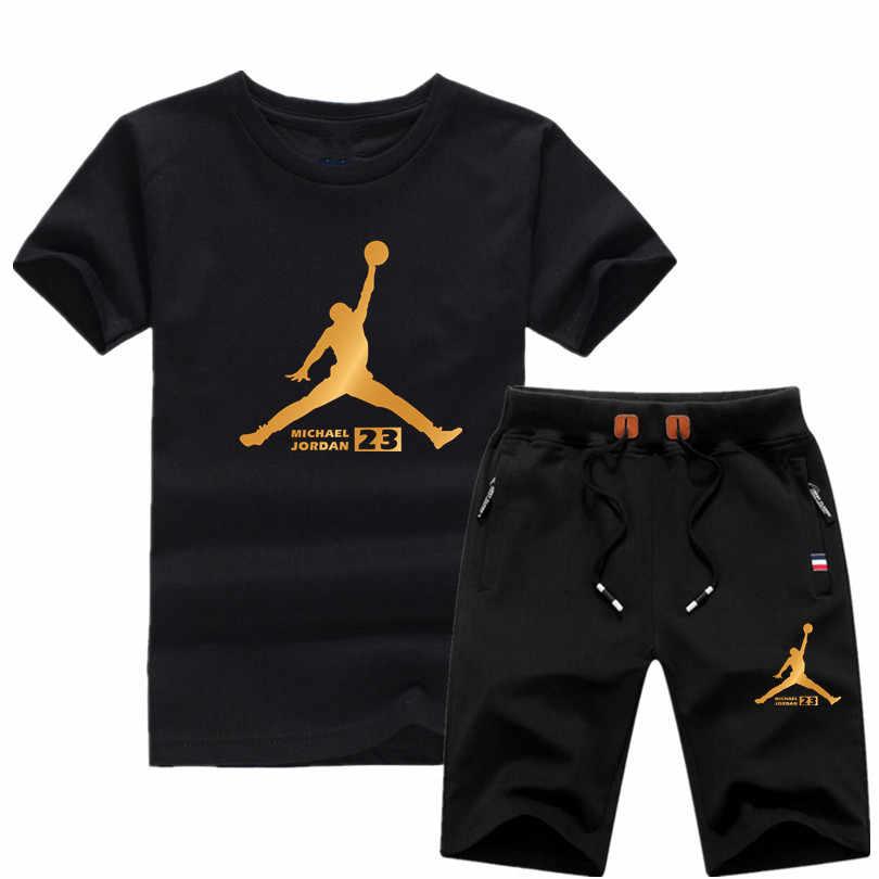 Jordan 23 T-shirt dos homens marca de Alta qualidade terno 2 pedaço ocasional de manga curta o-pescoço moda impresso camiseta de algodão e shorts homens