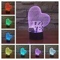 3D ilusão visual Bulbificação Lâmpada 7 mudando a cor do Coração a luz da noite LEVOU lâmpada para as crianças presentes de Natal brinquedo Luz Da Noite