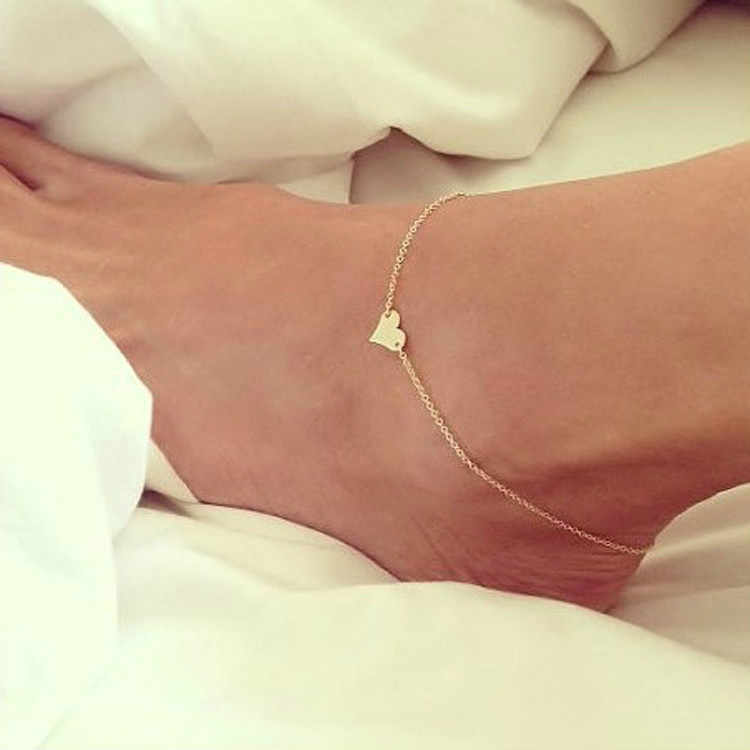 หัวใจใหม่หญิง Anklets เท้าเปล่าโครเชต์รองเท้าแตะเท้ารองเท้าแตะขา New Anklets เท้าข้อเท้าสร้อยข้อมือผู้หญิงขา