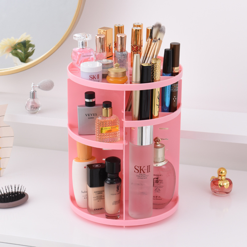 360 Rotating Makeup Organizer Storage Box Adjustable Plastic Cosmetic Brushes Lipstick Holder Make Up Jewelry Container Stand 12