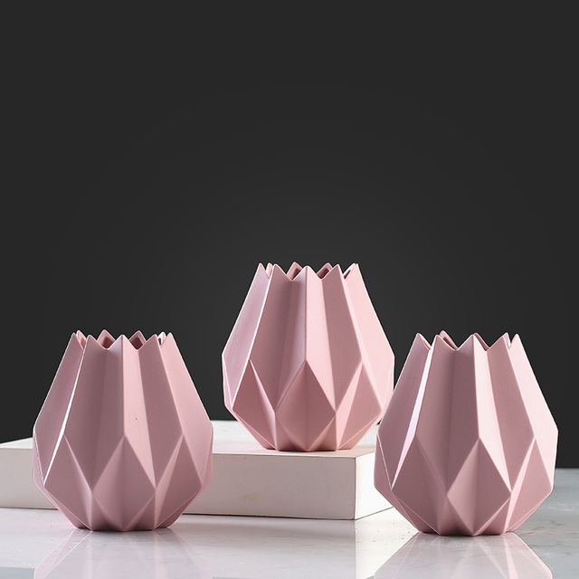 Stylish Simple Pink Irregular Ceramic Vase Creative Abstract Origami Craft Home Decoration