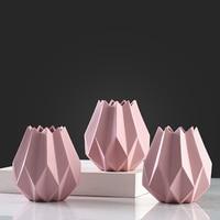 Stylish simple pink irregular ceramic vase Creative abstract origami craft home decoration vase