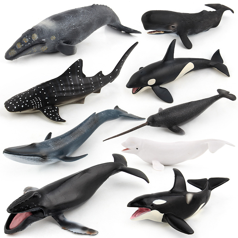 Sea Life Animal Shark Whale Model Figures Figurines Simulation Humpback Beluga Blue Whale Toys Gift For Kids