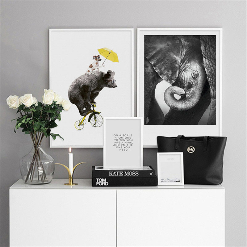 HAOCHU Nordic Modern Canvas Print Decoration Animal Elephant Bear Text Landscape Personality Home Wall Art Poster Decorations in Painting Calligraphy from Home Garden