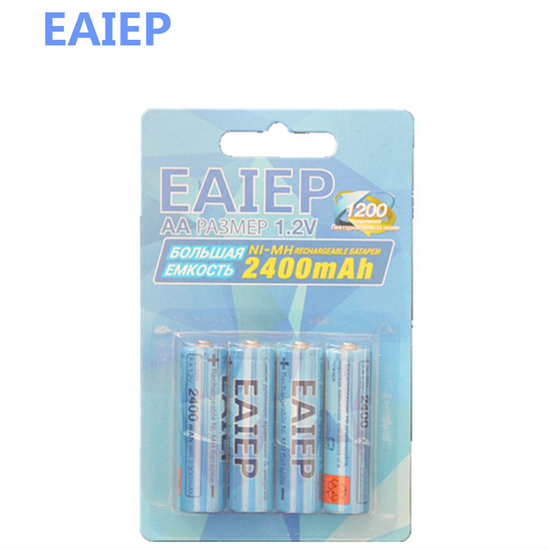 Russian packaging 4 x EAIEP AA Batteries NI-MH 1800mAh 1.2V AA Rechargeable Battery 2A Electronic Toys Bateria
