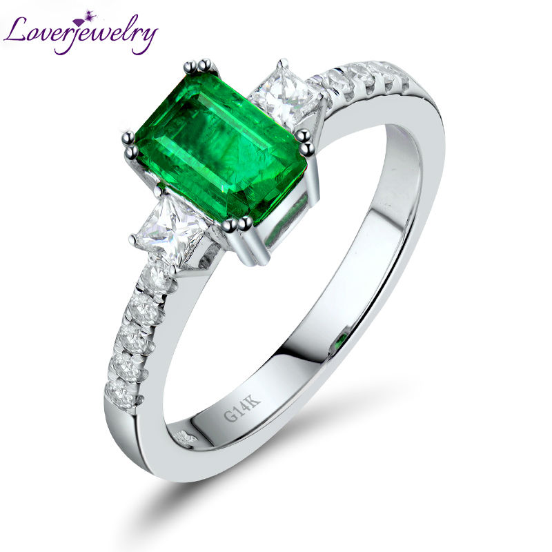 Real 14K White Gold Natural Emerald Ring Good Quality Diamond Wedding Jewelry for Engagement Gift WU269