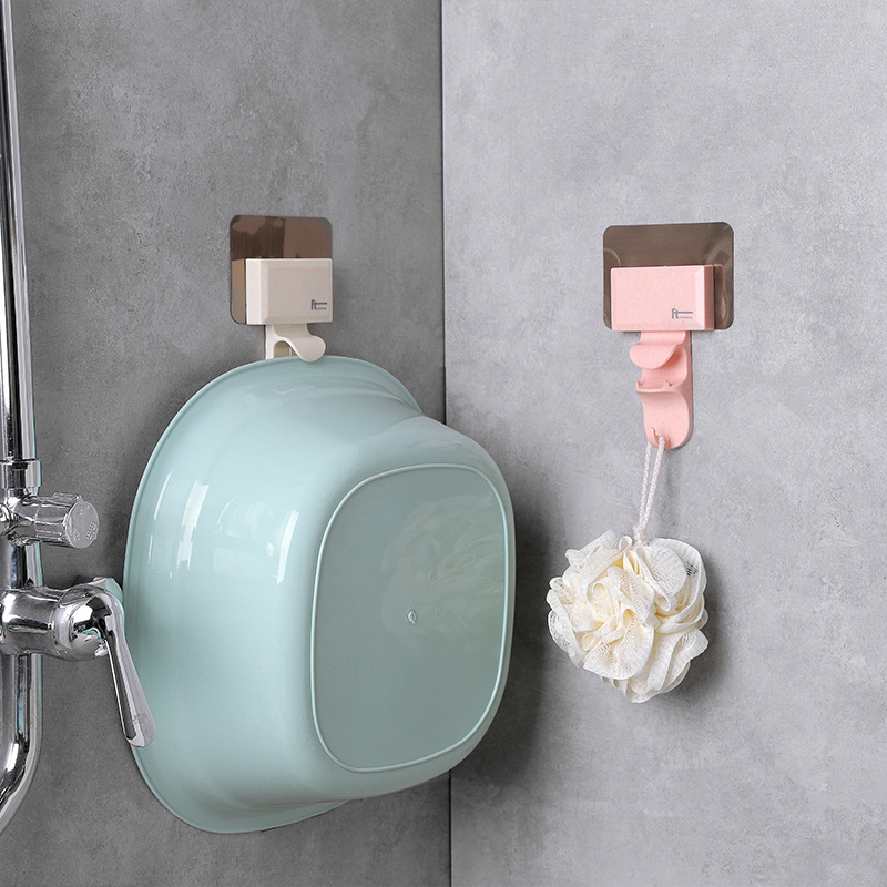 1 P Creative Shape Strong Washbasin Rack Towel Hook Adhesive Multi Purpose Hooks Organizer Holder Plug Kitchen Bathroom Hooks-in Bathroom Hooks from Home & Garden