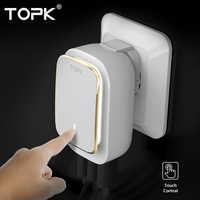 TOPK 5V 3.4A (Max) 3 ports chargeur de téléphone lampe à LED Auto-ID USB chargeur de voyage adaptateur Portable prise EU adaptateur chargeur mural (blanc)