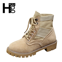 HEE GRAND Girl Boots Quality Desert Boot Plush Warm Autumn Spring Cowboy Lady Black Brown Lace