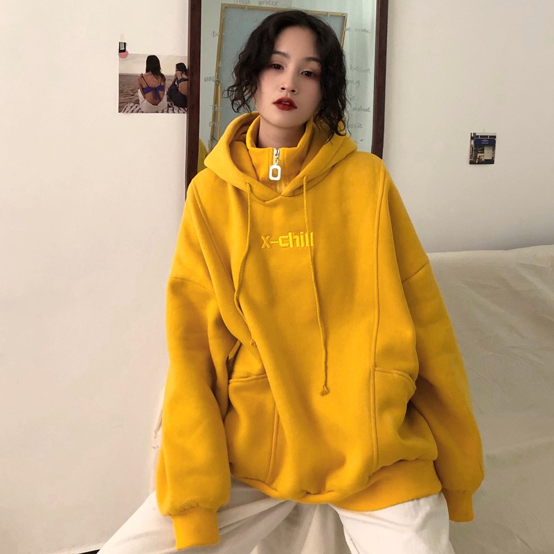 2019 New Winter Hoodies Female Harajuku Embroidery Letter Hoodies Loose Hooded Retro High Collar Plus Velvet Thick Pullover #983