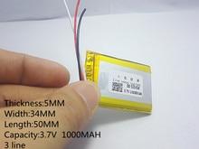Polímero de Íon Lítio para Gps 3 Linha 3.7 V 1000 Mah 503450 Plib; de Lítio e bateria Iões Mp3 Mp4 Mp5 Dvd Bluetooth Brinquedo Modelo