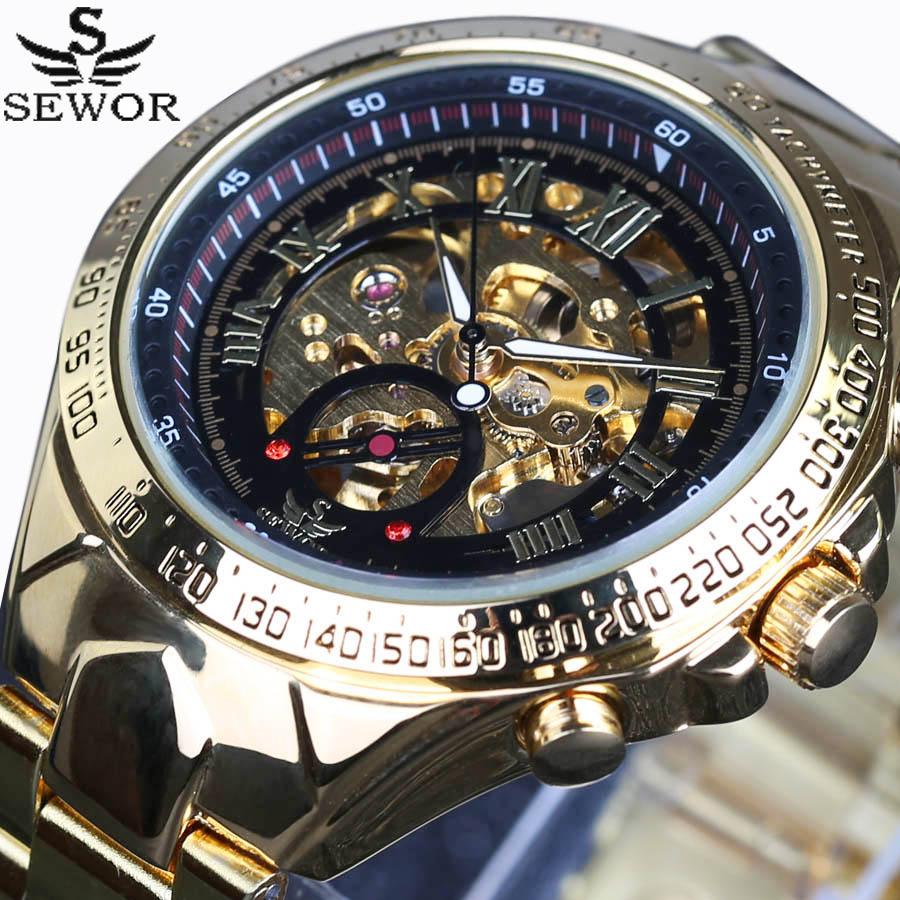 Sewor2018 New Top Brand Luxury Montre Homme Watch Men Automatic Skeleton Watch Sport Design Bezel Golden Clock Men's Watches