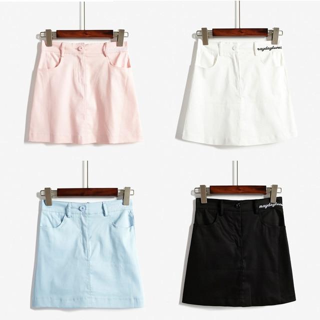 Summer Style Designer Skirt Women Korean Harajuku Denim A Line Min Skirt Embroidery Letter High Waist Female Short Skirt Womens