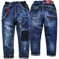 3996 краска пятно мягкие джинсы брюки мальчик брюки весна осень темно-синий дети ребенок джинсовые мальчики джинсы брюки дети 2017