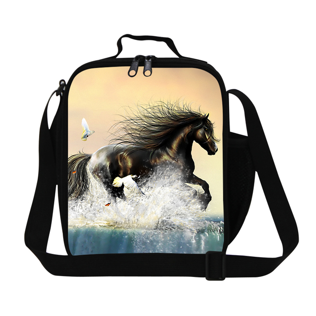 Cool boys horse lunch bag for school,adult mens insulated lunch box bag for work,sling family picnic bag,thermal bag for kids