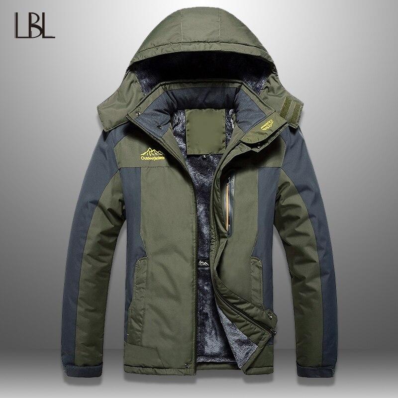 LBL Winter Männer Jacken Dicke Herren Wandern Jacke Casual Outwear Warme Mit Kapuze Mantel Mann Winddicht Mantel Homme Outdoor-Mode Top