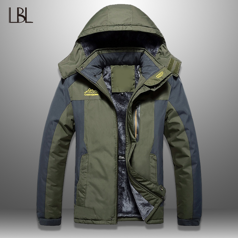 LBL Winter Men Jackets Thick Mens Hiking Jacket Casual Outwear Warm Hooded Coat Man Windproof Overcoat Homme Outdoor Fashion Top