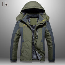 Lbl Musim Dingin Pria Jaket Tebal Pria Hiking Kasual Jaket Lebih Tahan Dr Hangat Hooded Mantel Pria Windproof Mantel Homme Outdoor Fashion Top(China)