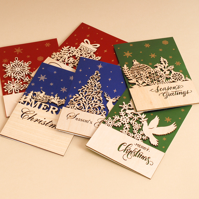 반짝이 비즈니스 크리스마스 카드 Wood Flourishes Ornament Merry Christmas Cards