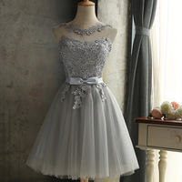 Lace Knee Length Brides Maid Dresses Silver High Quality In Stock Real Wedding Party Gowns African