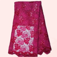 Luxury fuchsia cord lace fabric with sequins wedding lace material African polyester water soluble lace  LW13-6 multi color