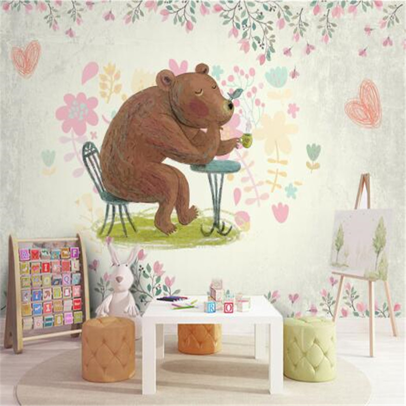 Cartoon Wall Papers Home Decor Background Wall Non-Woven Wallpapers Teddy Bear Hand Painted Wallpapers for Children Room english wallpaper roll for baby room lovely hand painted wallpapers children wall paper mural non woven wallpapers for boy room