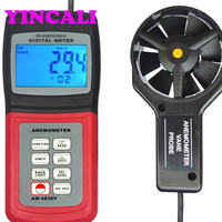 Fast Shipping Digital Anemometer AM 4836V Wind Speed Tester Air Velocity Flow Temperature Measuring Meter Memory 24 Groups Data