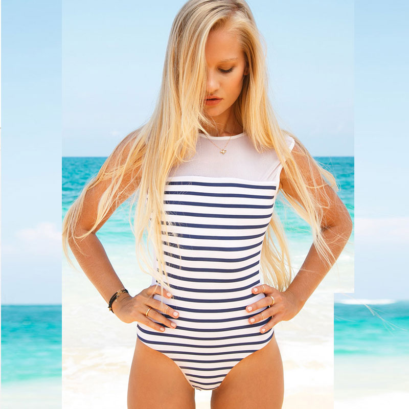 972bffa02e Aliexpress.com   Buy Print Striped One Piece Swimsuit Women Cut Out  Monokini Sport Swimwear Beach Bathing Suit Plus SIze XL Swimming Wear  Bodysuit from ...