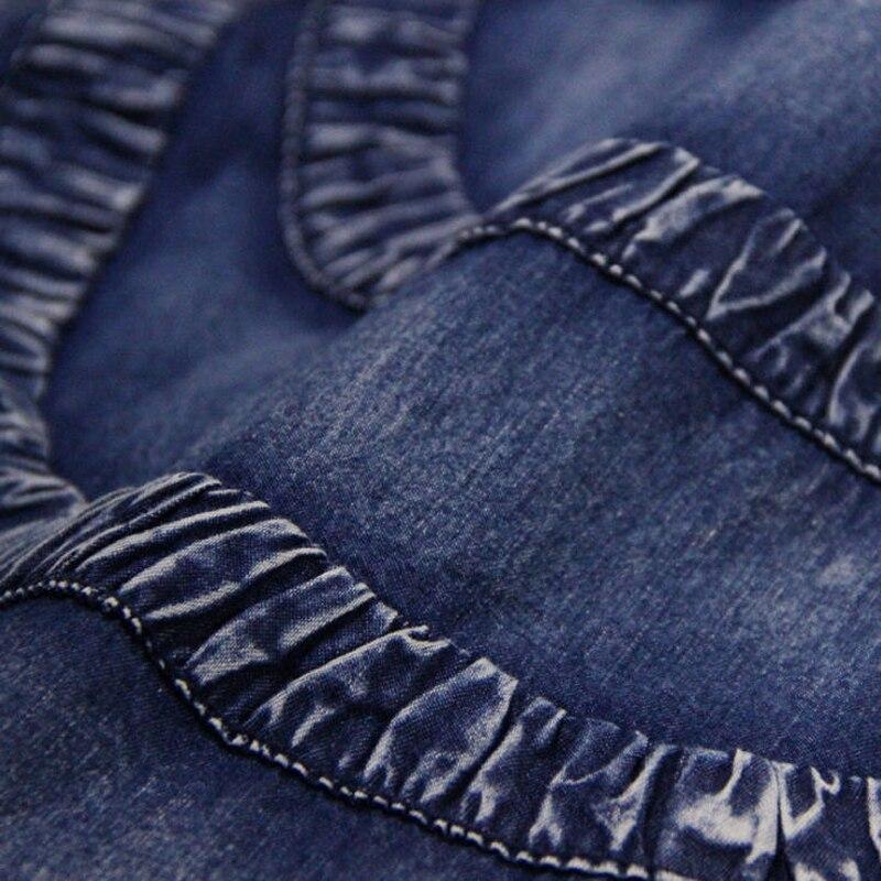 2018 Vent Sans Mi Filles Printemps Vintage La Été O A085 Manches Femmes Denim National Bleu Plus Casual Robes Robe mollet cou Taille q7A4F57