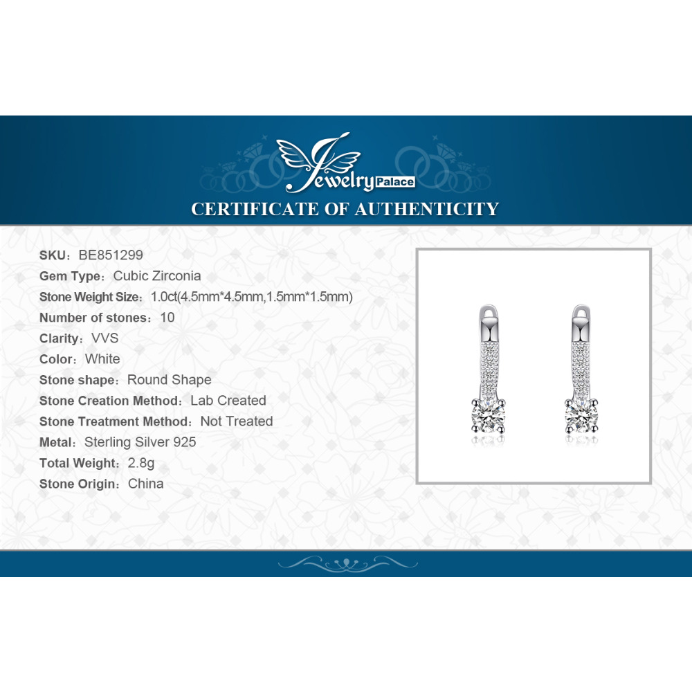 Sterling Silver Earrings 1ct Cubic Zirconia CZ Clip Earrings Fine Jewelry Anniversary Gifts For Women Fashion 5