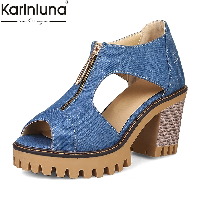 Karinluna Brand Big Size 34 43 Denim Wide High Heels Platform Zip Women Shoes Woman Casual Party Ol Summer Sandals